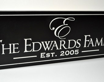Personalized Family Name Sign Plaque Custom Made Just for you. 10x24 Carved Engraved Makes a great wedding or anniversary gift