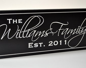 Personalized Family Name Sign Plaque Last Name Sign 10x36 Carved Engraved Wall Sign Established Sign