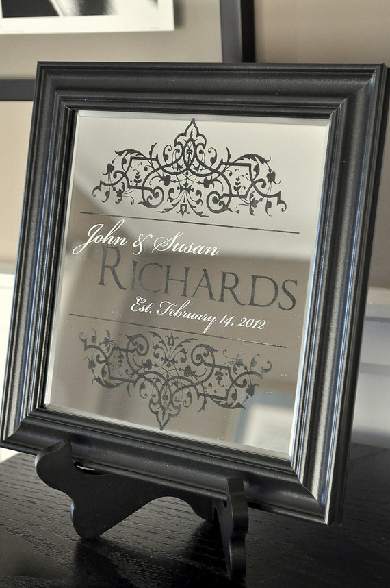 Personalized Family Name Mirror Established Personalized Mirror 10x10 Laser Engraved