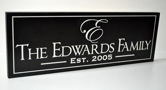 Personalized Family Name Sign Plaque Wall Sign Custom Made Just for you. 8x24 Carved Engraved Makes a great wedding or anniversary gift