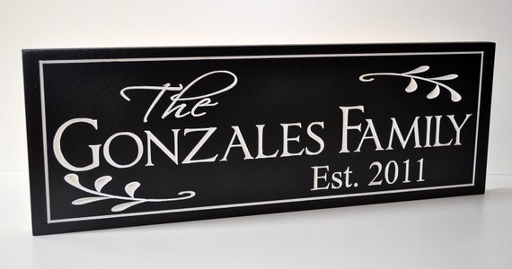 Family Name Sign Established Sign Carved Painted Personalized Plaque Wall Sign 7x20