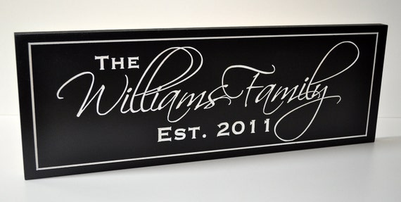Personalized Family Name Sign Plaque Last Name Sign 8x24 Carved Engraved Wall Sign Established Sign
