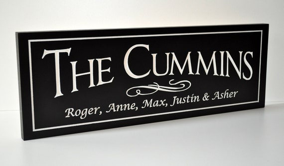 Personalized Family Name Sign Plaque Established 8x20 Carved Engraved Makes a great wedding or anniversary gift