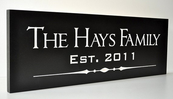 Personalized Family Name Sign Plaque Custom Made Just for you. 8x24 Carved Engraved Makes a great wedding or anniversary gift