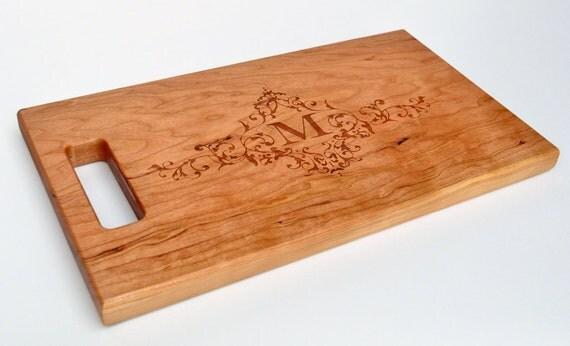 Cutting Board Personalized Cutting Board Laser Engraved Cherry 8x14 Wood Cutting Board CB814MI