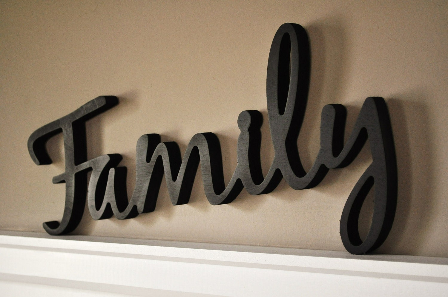 Wooden Words Wall Art : Word art wood d cutout family by mrc mrcwoodproducts