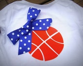 Iron On TEAM SPIRIT Appliques - Basketball with Ribbon