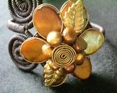 x Reserved for aussiejennifer x Beautiful Gold Flower Brass Bracelet Cuff  -XquisitCraft-
