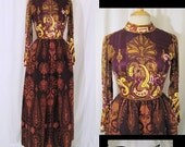 Vintage 1970s Dress Museum Worthy RONALD AMEY Rare Designer Silk Bodice and Wool Velvet Paisley Couture Maxi