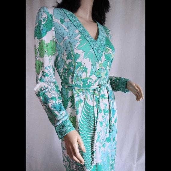 Vintage 70s Dress AVERARDO BESSI Strawberry Garden Silk Jersey 1970s Maxi Dress L