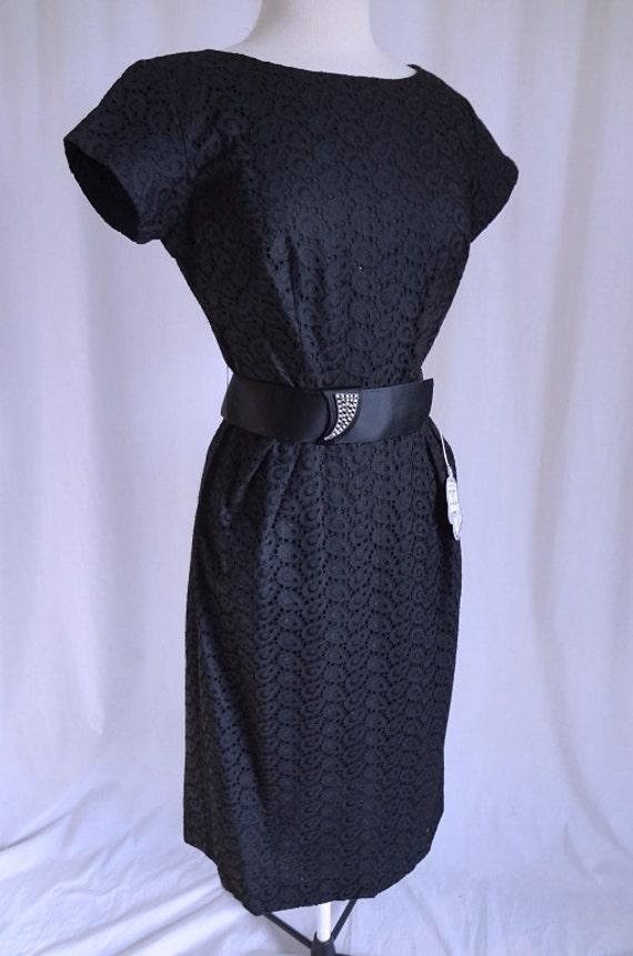 SALE was 75 - Vintage 50s Dress Black Gardenia Embroidered Batiste Cut-Work Rhinestone Belt 1950s Dress M NOS