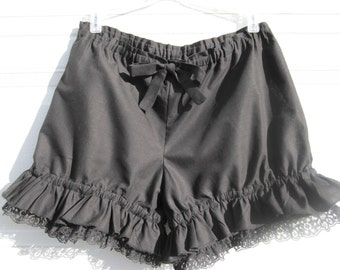 Black bloomers with lace and ruffles