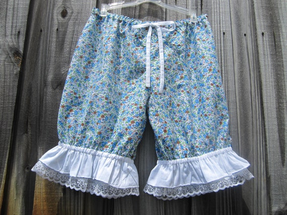 Blue and white flower print knee length bloomers-Ready to ship size Large