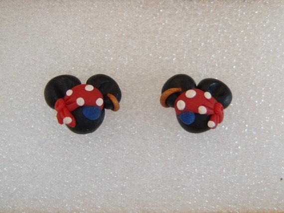 Custom Made Disney Inspired Polymer Clay Pirate Minnie Earrings