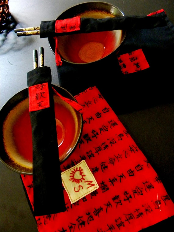 My Portable Dining Set: one placemat, japanese ceramic bowl, and chopsticks in bag