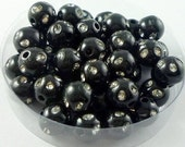100pcs 8mm Sparkly Plastic Beads Black