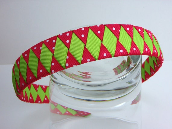 Woven Headband hot pink and green