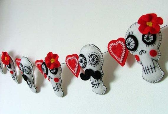 Sugar Skull Decoration Valentines Wedding Garland