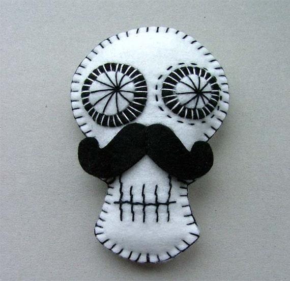 Mustache Sugar Skull Decoration by FeedDogz on Etsy