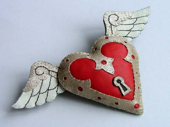 Leather Valentines Love Heart Tattoo Brooch