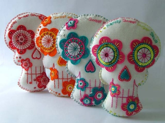 Embroidered Sugar Skull Day of the Dead Decoration