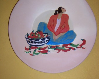 Southwestern art plate, Chili Peppers,  Terra Cotta Plate, Hand Painted
