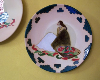 Plate, Southwestern Plate, Native American Decor, Wall Hanging, Terra Cotta, Hand Painted