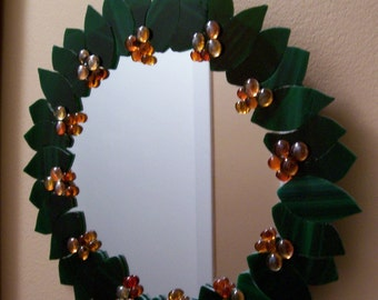 Mirror, Laurel Leaves, Cut Glass Leaves, ON SALE