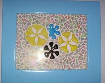 Flower Mosaic, ON SALE, OOAK, Fused Glass