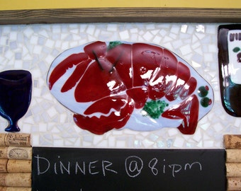 Chalk Board, Mosiac, Lobster, Cork Board, Black Board, Mosaic Art, Wine Corks,