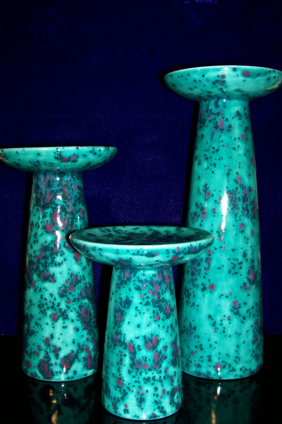 Ceramic Candle Holder, Pillar Candle Holders, Seafoam Green, Candle Stick