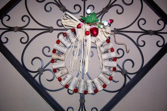 Wreath,  Wine Cork Wreath, Holiday Decoration, Handmade