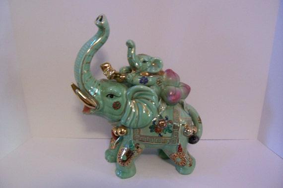 Elephant Figurine, Lucky Green Elephant, Baby Elephant