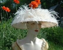 Kentucky Derby Hat, Ladies Edwardian Straw Hat, Pale Peach Hat