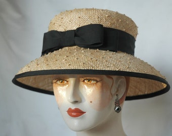 Ladies Straw Hat with Double Bow