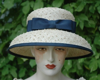 Ladies Straw Hat, Mushroom Brim, Double Bow