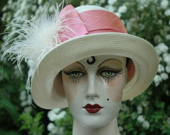 Ladies Great Gatsby 1920s Straw Cloche Hat