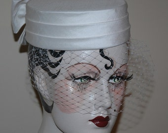 Ivory Bridal Wedding Pillbox Hat with Veil