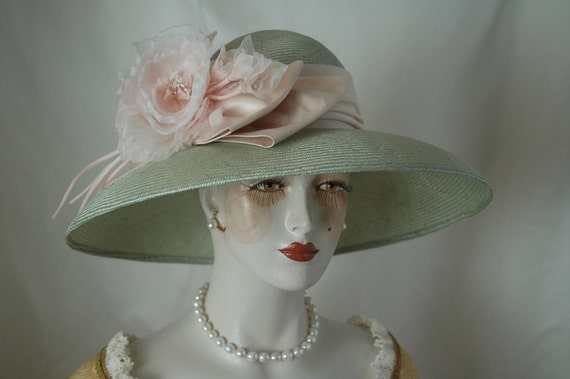 Kentucky Derby Hat, Green Straw Hat, Couture Hat
