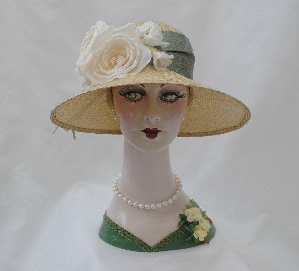 1920s Straw Hat Garden Hat Flapper