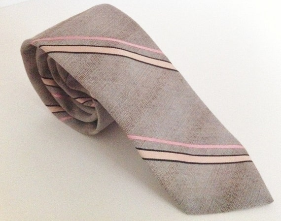 Vintage 1970s Tie // Jack Lang // Pink Beige Gray // Striped 70s // Free Shipping