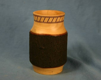Rustic Wood Pencil Cup Made from Laurel with Woodburned Accent Band