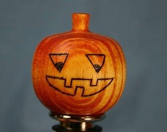 Wine Bottle Stopper Jackolantern Orange Halloween Pumpkin Wooden Ash No. 257T - The Ruffian