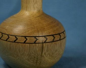 Myrtle Wood Bud Vase with Band of Wood Burned Chevrons
