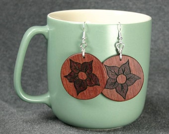 Pendant Earrings Made from Purpleheart Wood, Woodburned by Hand