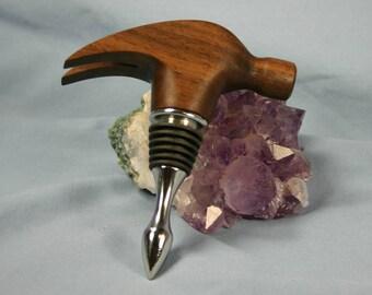 Wine Bottle Stopper Black Walnut Hammer Head - Made to Order