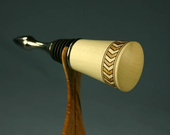 Wine Bottle Stopper Made from Holly Wood with Band of Woodburned Chevrons 294B