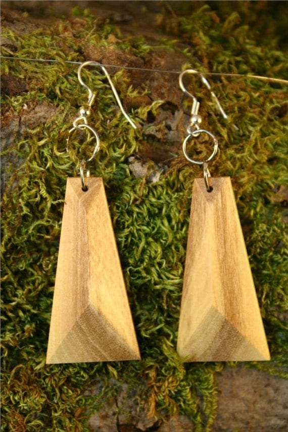 Wooden Pendant Earrings with Facets Bookmatched from Orange (Citrus) Wood