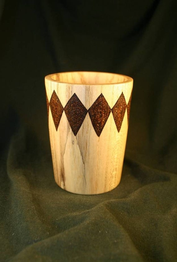 Wood Pencil Holder Spalted Ash with Large Woodburned Diamonds