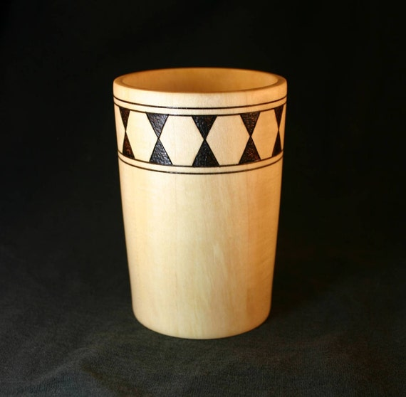 English Walnut Pencil Cup with Woodburned Hourglass Pattern